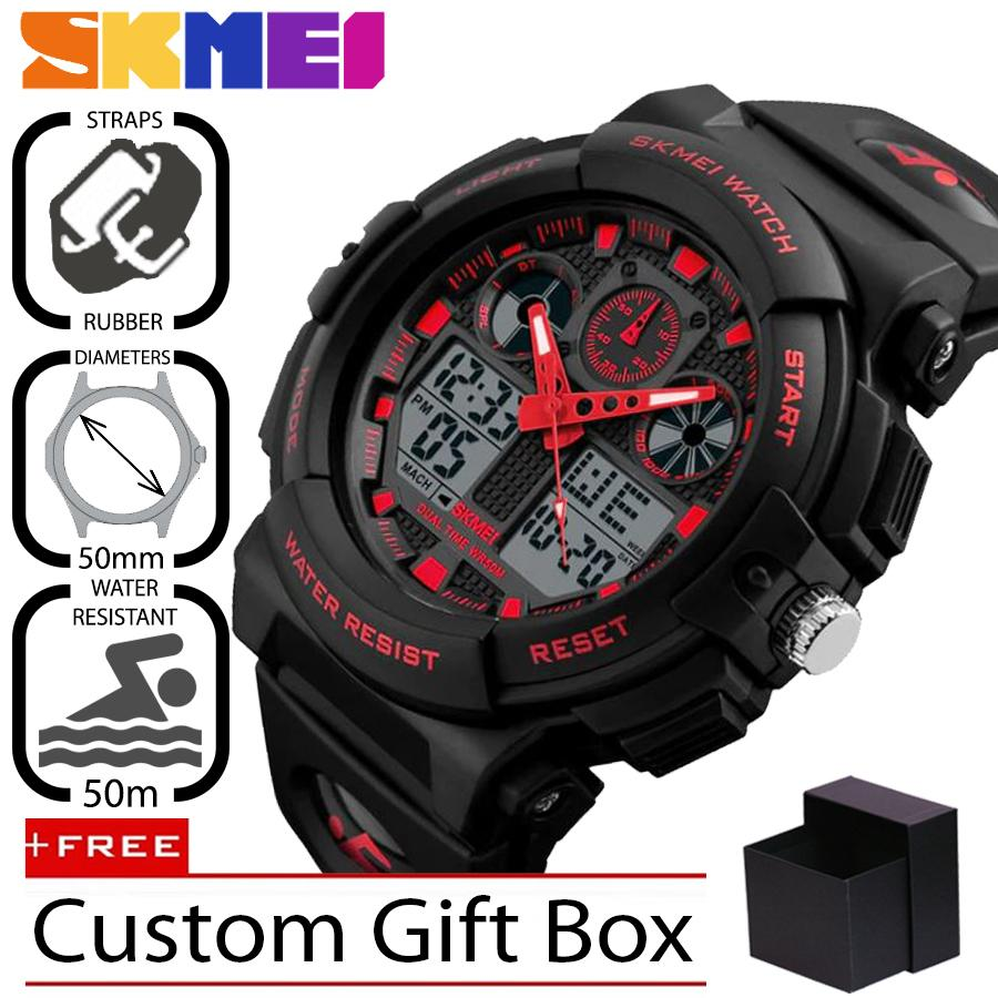 Jam Tangan Skmei Original Terlengkap Pria 1270 Sport Digital Led Analog  Silikon Pu 50 Mm 20ec5a7185