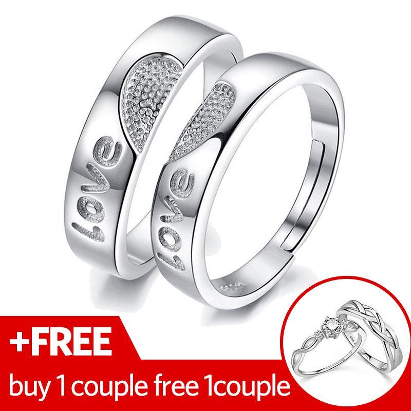 2 Pcs Disesuaikan Cincin Pasangan Cincin Jewellry 925 Perak Adjustable Pecinta Cincin E009-Intl