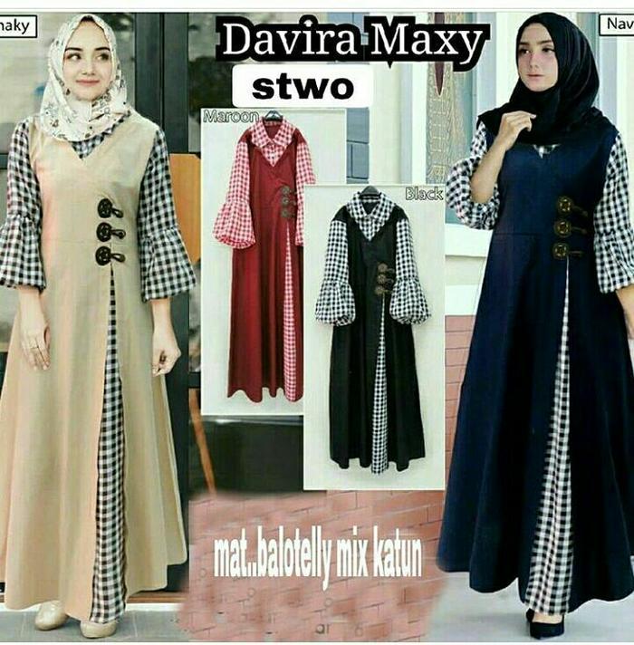 Jual Gamis katun / Dress murah / Baju muslim wanita / Hijab : Davira Maxi Murah!