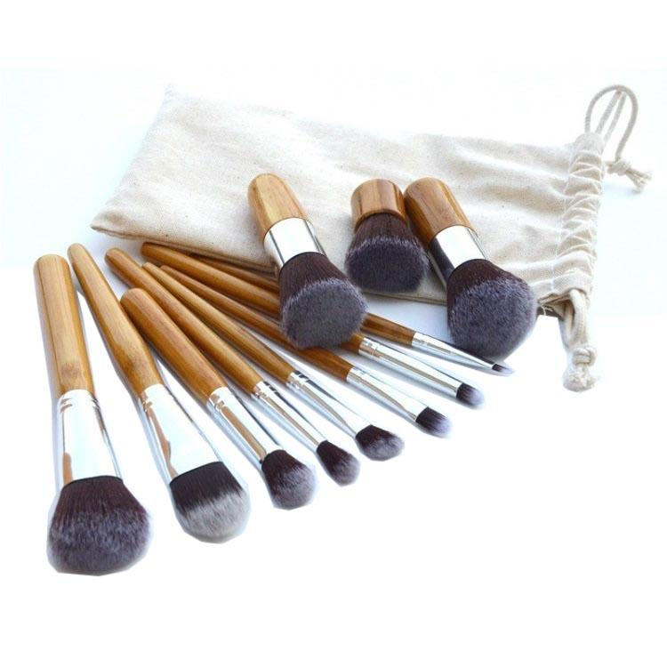 Set Kuas Make Up Gagang Kayu - Wood Brush Kabuki Foundation Powder Blush On Eyeshadow Shading Conto