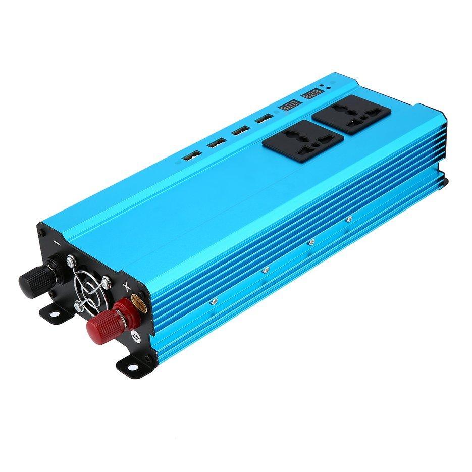 Wond 5000 W Pengalih Daya DC Ke AC Rumah Kipas Pendingin Pengonversi Mobil 4 Port USB Biru DC 12 V untuk AC 220 V