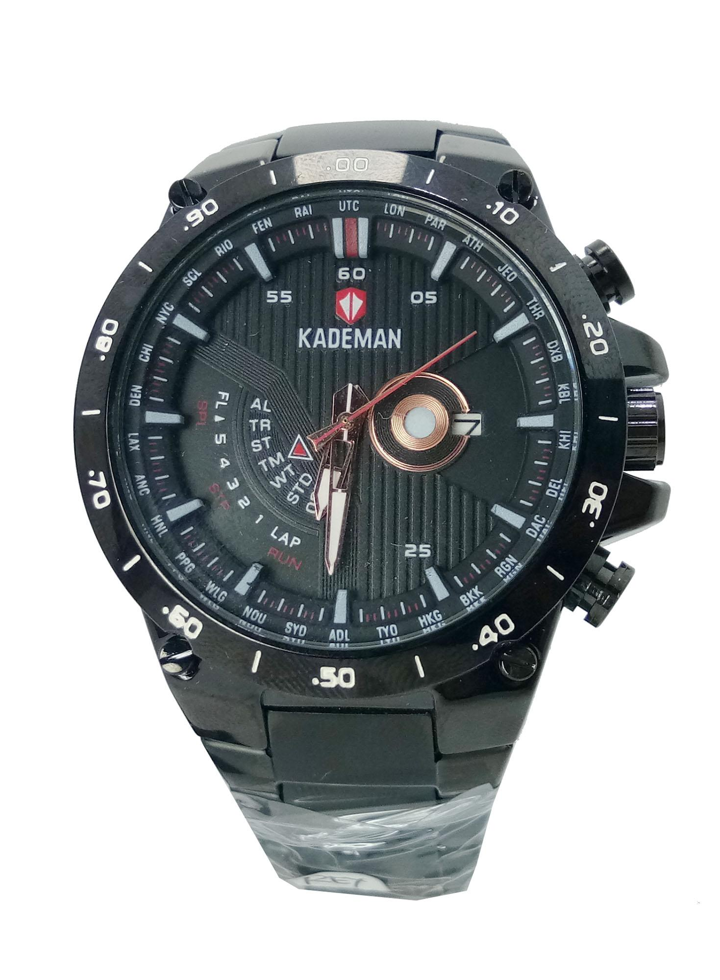 Kademan 415g Original  Jam tangan Pria keren Modis-Rantai-Hitam