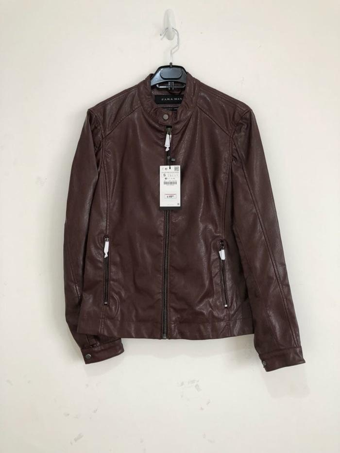 Jaket Kulit Zara Man Leather Effect Authentic Not Levis Nudie Harley