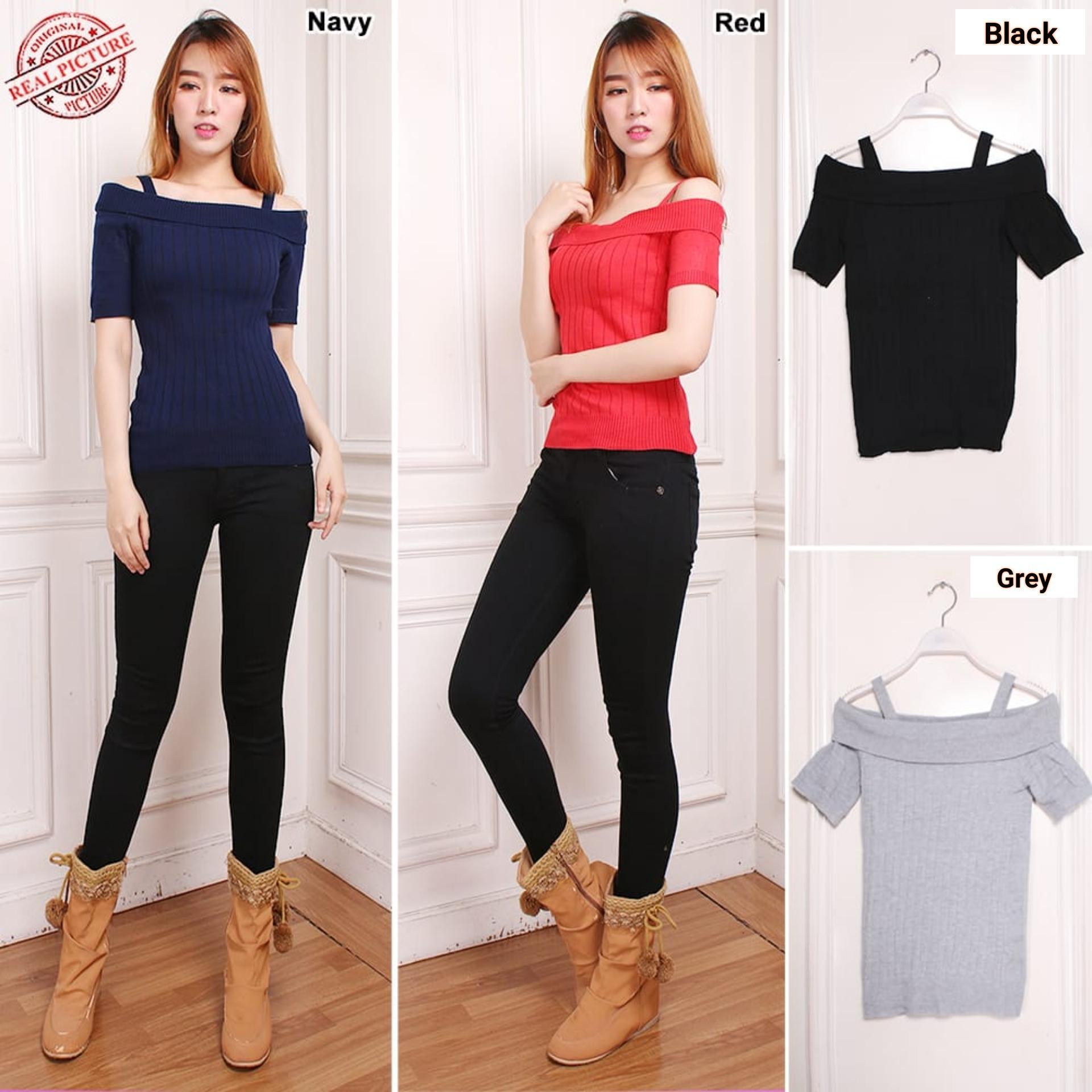 Cj collection Atasan blouse kemeja rajut wanita jumbo blus tshirt knit Anandi / model sabrina