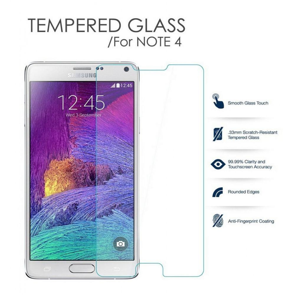 Original - Anti Gores Kaca / Tempered Glass Kaca Bening Samsung Galaxy Note 4