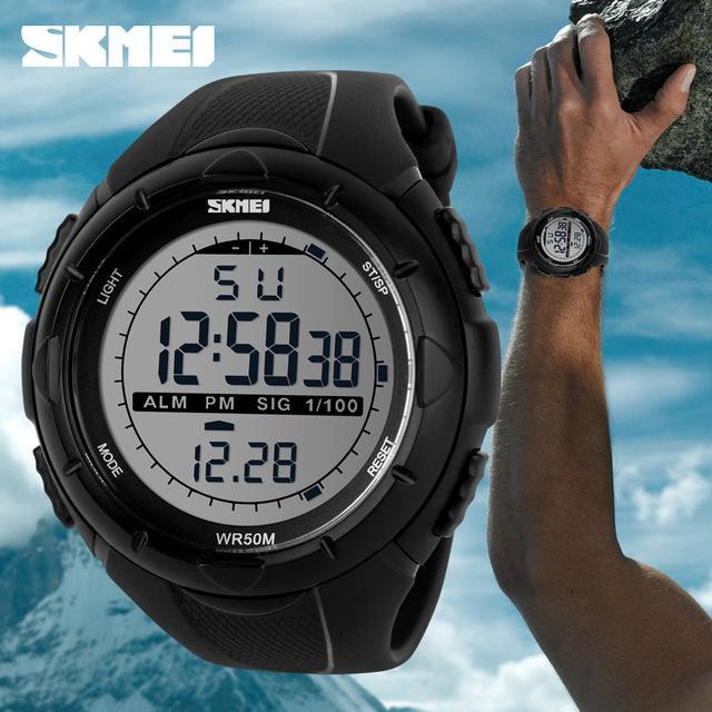 SKMEI S-Shock Digital Sport Watch DG1025 Water Resistant Anti Air WR 50m D-IOZR Jam Tangan Unisex Tali Strap Rubber Karet Wrist Watch Wristwatch Outdoor Fashion Casual Design K053 - Hitam