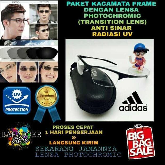 diskon 15%!! Kacamata Minus Frame Adidas Dengan Lensa Photochromic Anti Sinar Uv - ready stock