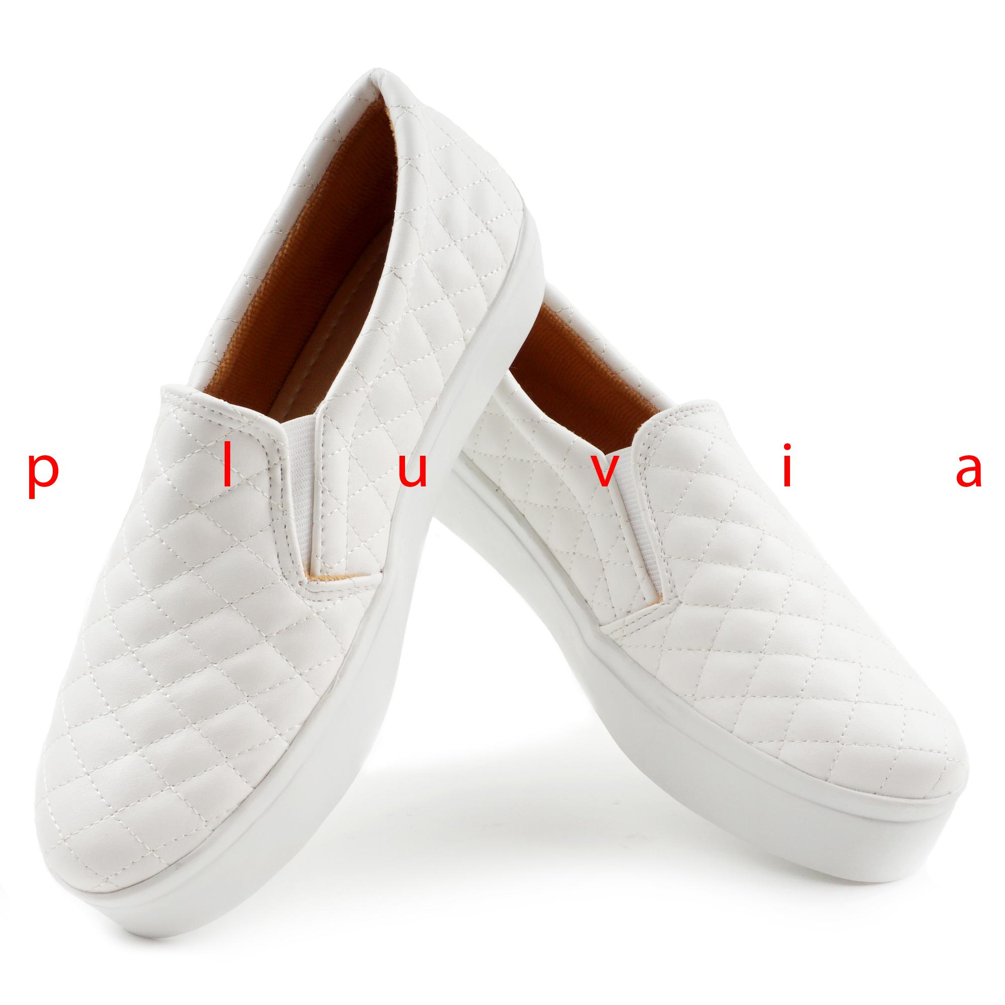 Pluvia Sepatu Sneakers Slip Wanita Terbaru Quilted KR01 Putih