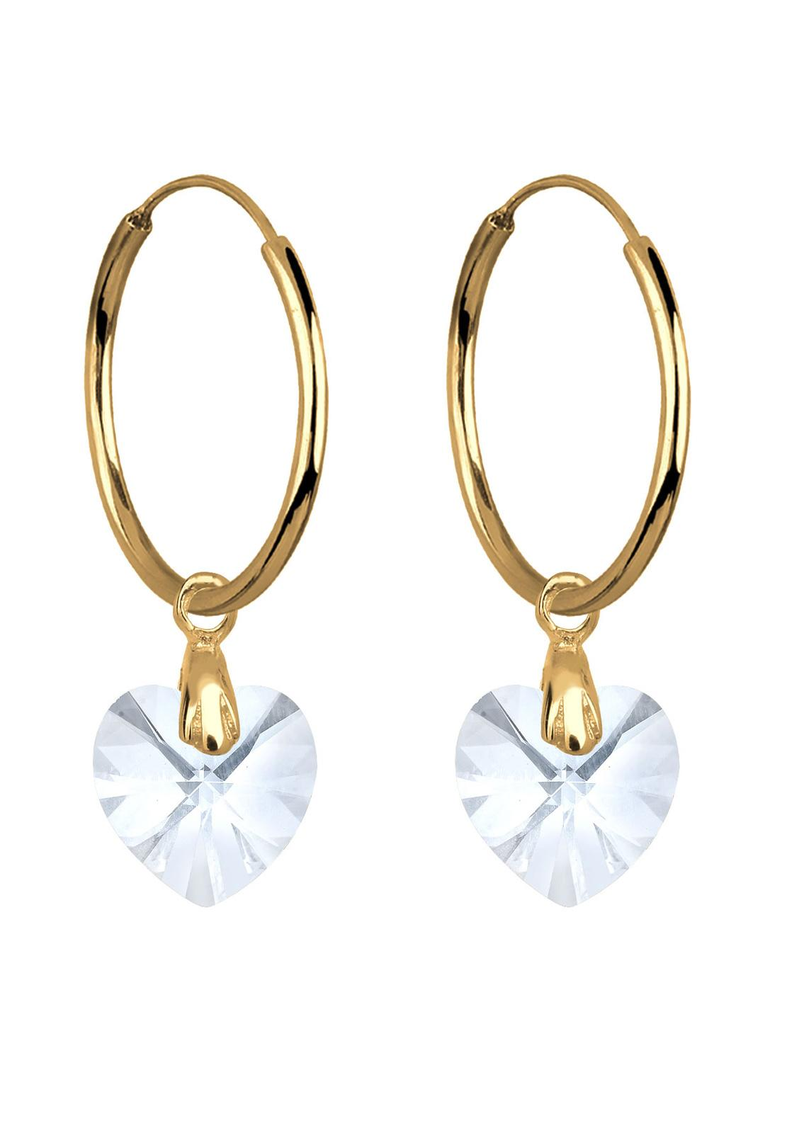 Elli Germany 925 Sterling Silver Anting Creol Heart Swarovski® Lapis Emas Putih