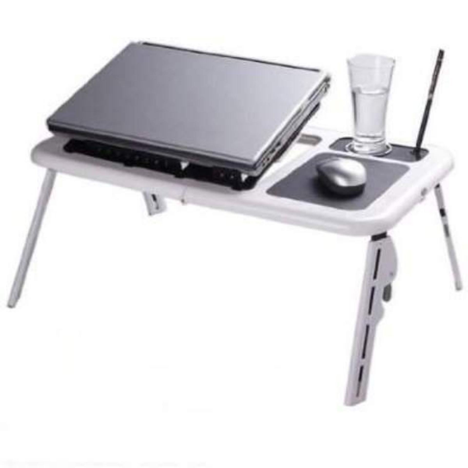 E-Table Meja Laptop Portable / Meja Laptop Lipat / Meja Laptop Praktis Mudah Dibawa Kemana mana - Putih