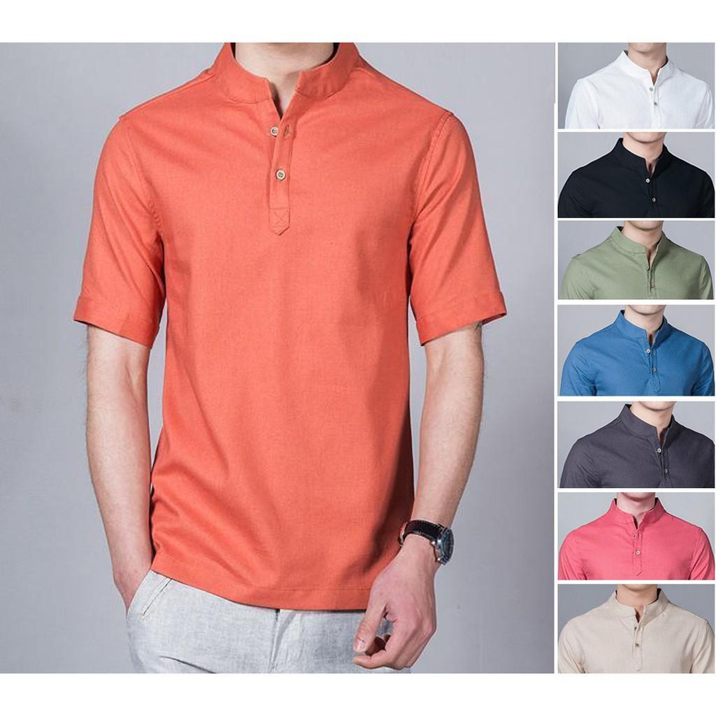 Baju Koko Shaquille Orange Lengan Pendek Tersedia 8 Warna Pilihan (S)