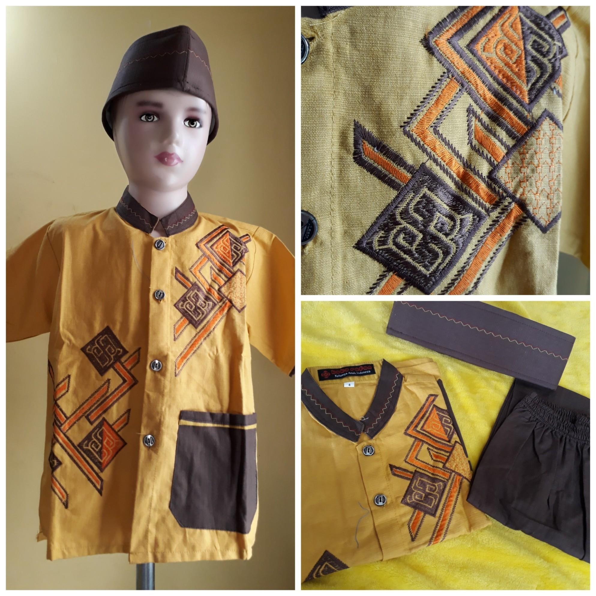 Setelan Koko Sarung Dan Peci Muslim Anak Orange Motif O Page 4 Source · Setelan baju koko anak peci