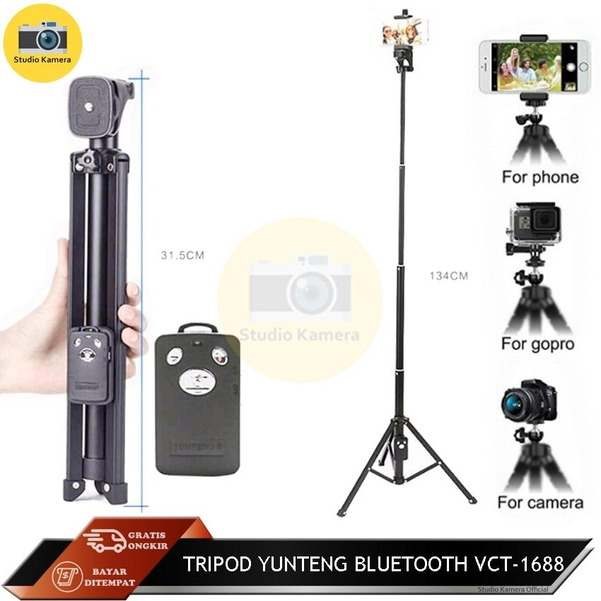 Studio Kamera - Tongsis YUNTENG VCT-1688 2in1 Portable Mini Ponsel Selfie Stick Tabletop Tripod dengan Remote Controller untuk IPhone Samsung DSLR ILDC Kamera Action Camera - Hitam