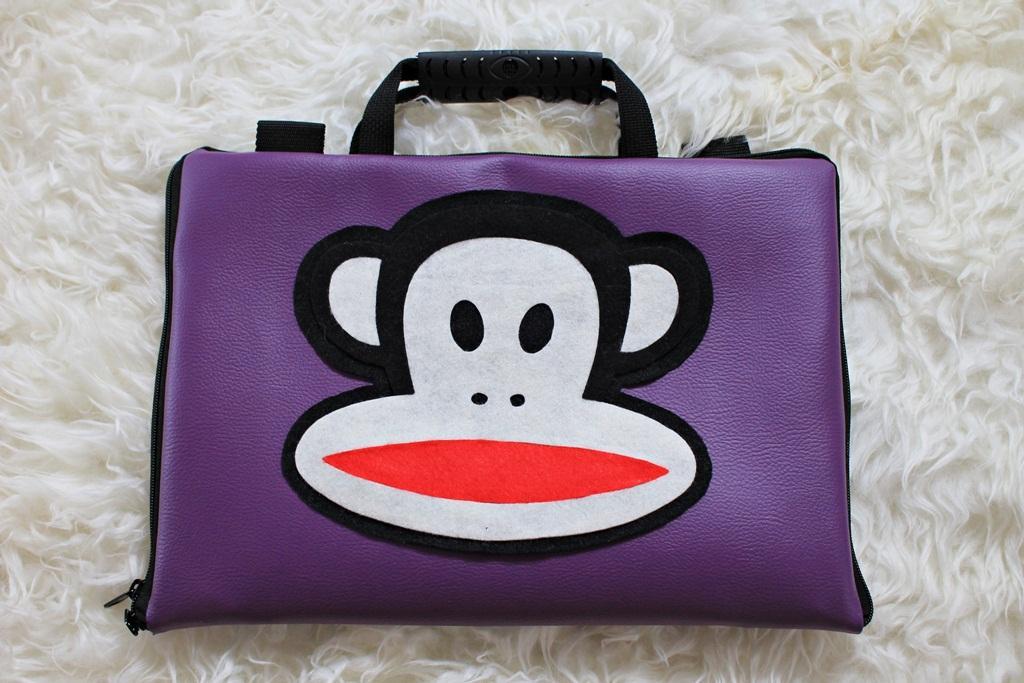 Paul Frank Monkey Ungu Kulit Premium 10 Inch Softcase Tas Laptop Notebook Macbook Netbook