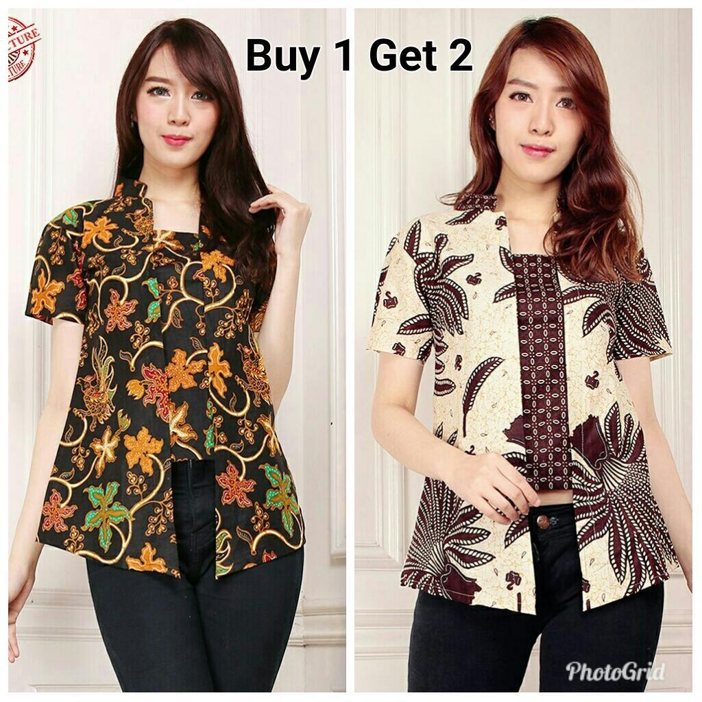 Cj collection PROMO BUY 1 GET 2 Atasan blouse kemeja abaya kebaya Winda ( beli 1pcs