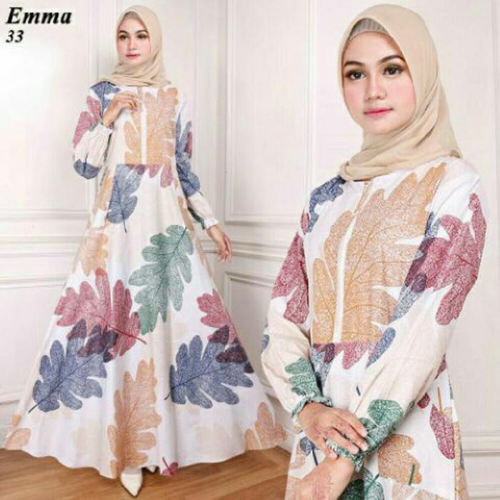 Maxi Emma (33) Putih Baju Muslim Wanita Gamis Model Kekinian Terbaru