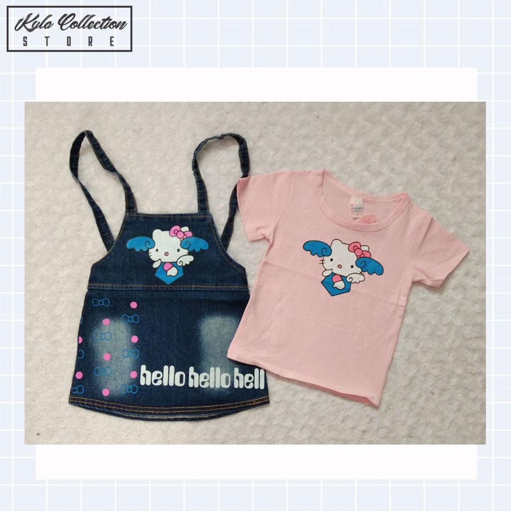 Setelan Baju Anak Perempuan Dress Anak Hello Kitty Import