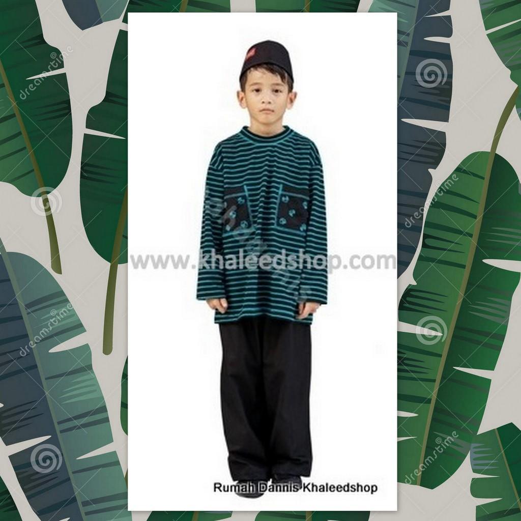 DANNIS D'TURQUOISE STRIPE - Baju Muslim Anak DANNIS - Koko Anak Kaos DANNIS (No.9)