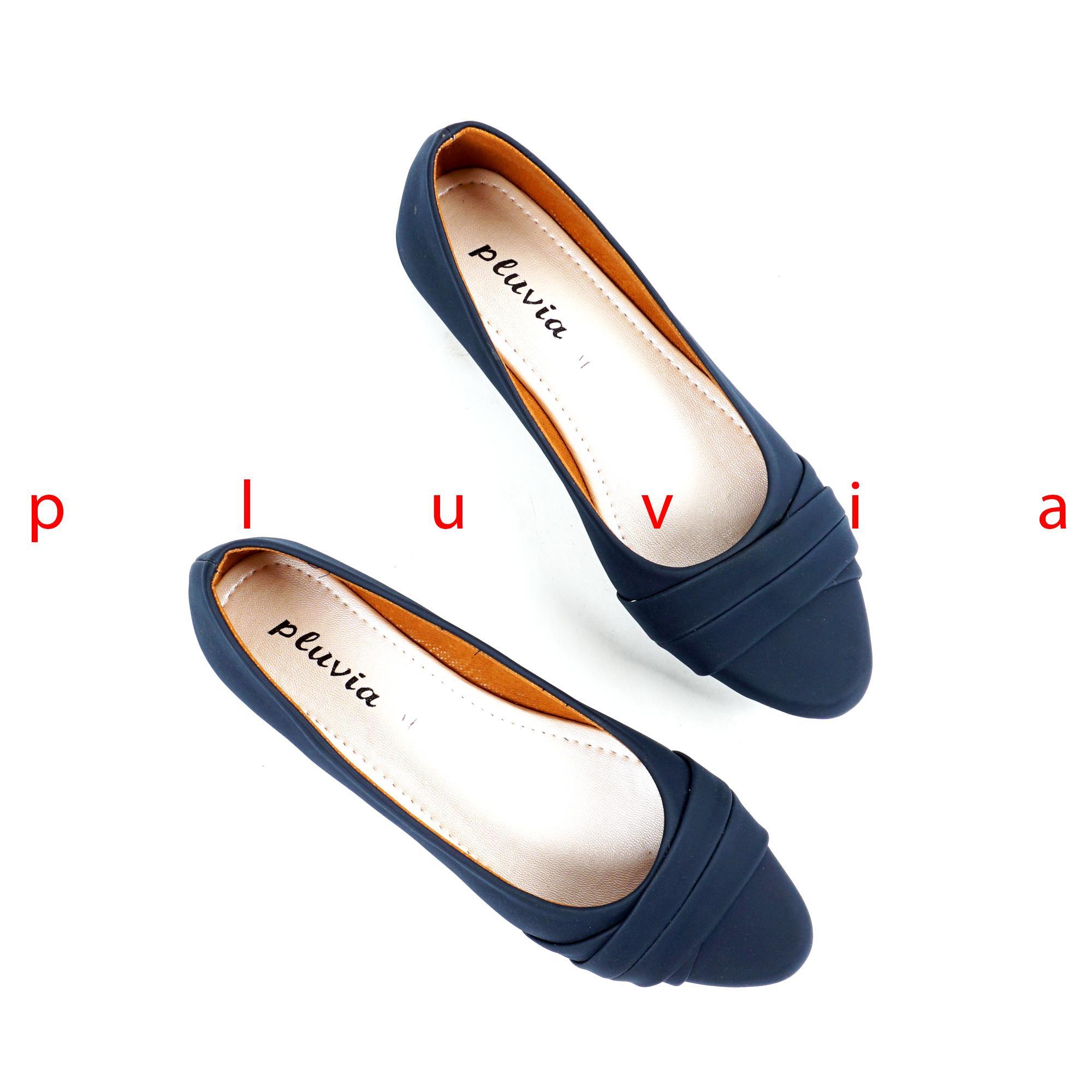 Pluvia - Sepatu Balet Flat Shoes Wanita PLV42 - Navy