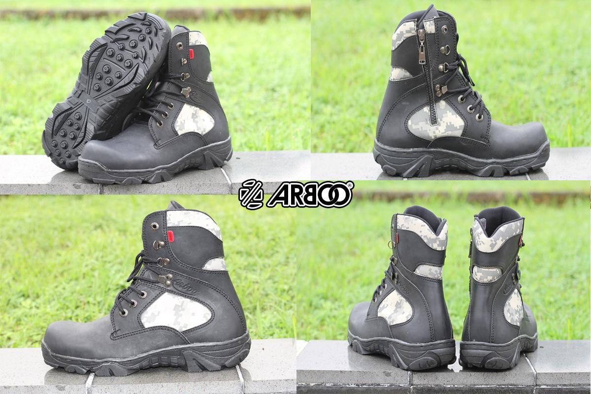#PROMO SEPATU BOOT SAFETY PRIA ARBOO TRACKING BLACK LORENG UJUNG BESI