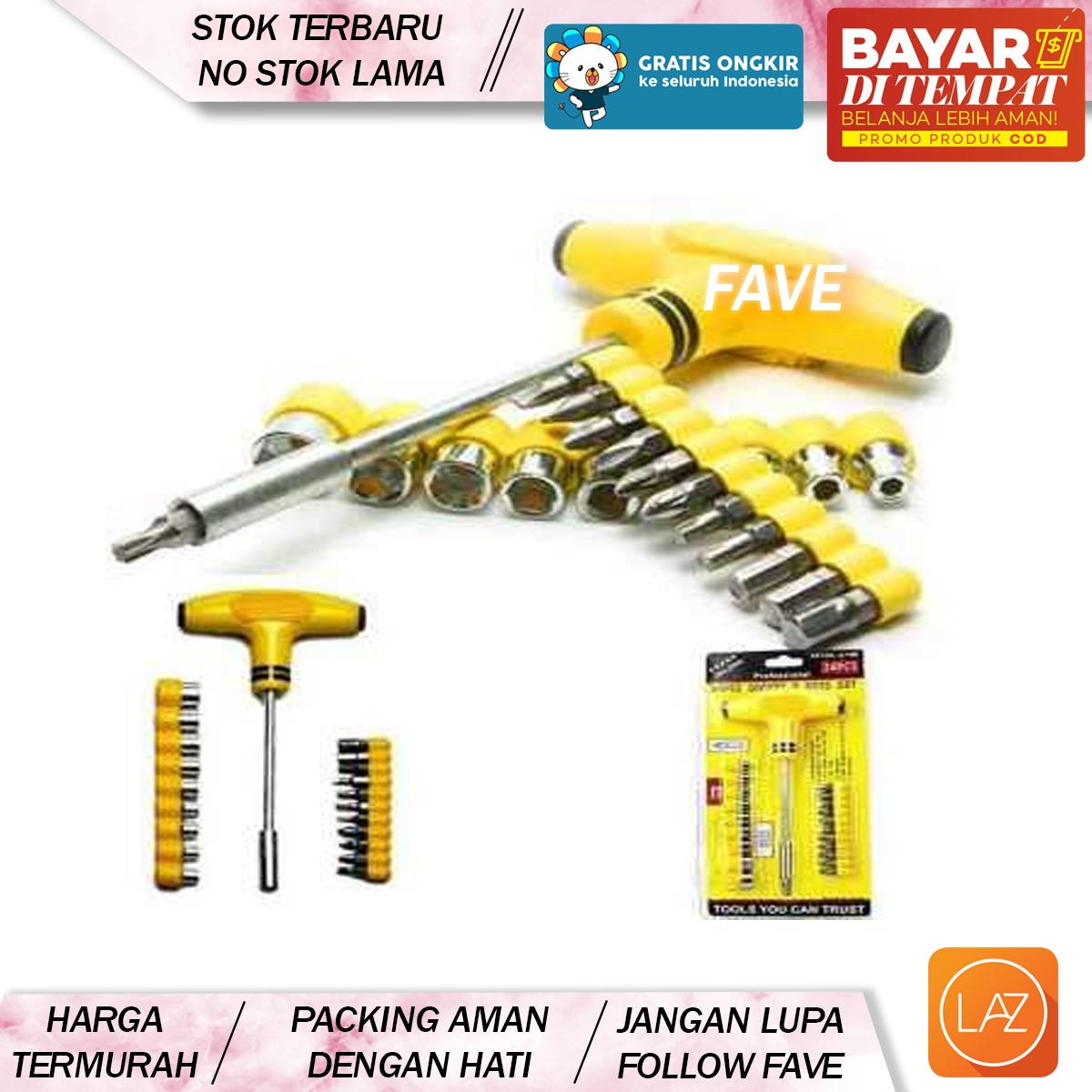 Buy Sell Cheapest Obeng Sok 21 Best Quality Product Deals T Set Fave Cod 21pcs Kunci Plus Palu Screwdriver Socket Bits Tool