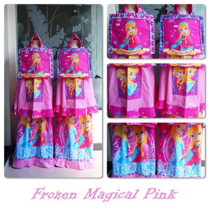 (Busana Muslim Muslimah) Mukena Anak Frozen Magical Pink (Size S)