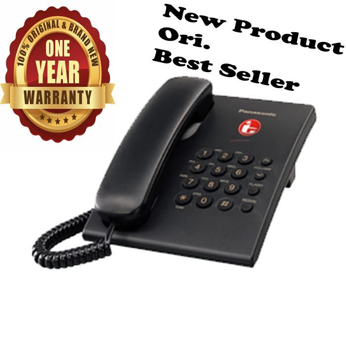Panasonic Best Seller Murah KX-TS505 CX / TS-505 / TS 505 Telepon Kabel Rumah Kantor Telephone Single Line Bergaransi Resmi - Hitam setara dengan Alcatel T22