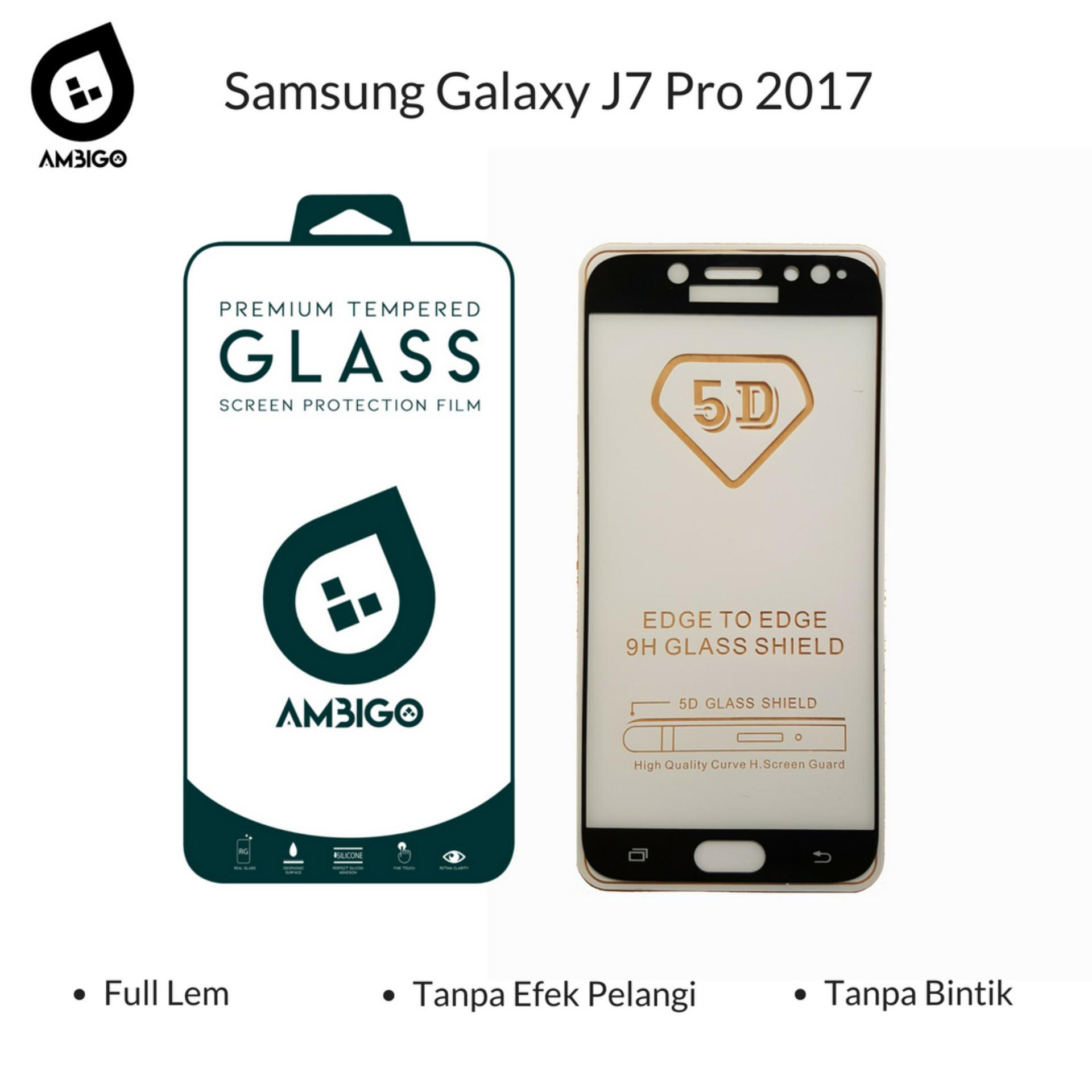 Accessories Hp Ambigo Tempered Glass 5D Full Cover Warna / Anti Gores Kaca Full Lem Untuk Samsung Galaxy J7 Pro 2017 ( J730 ) - Black