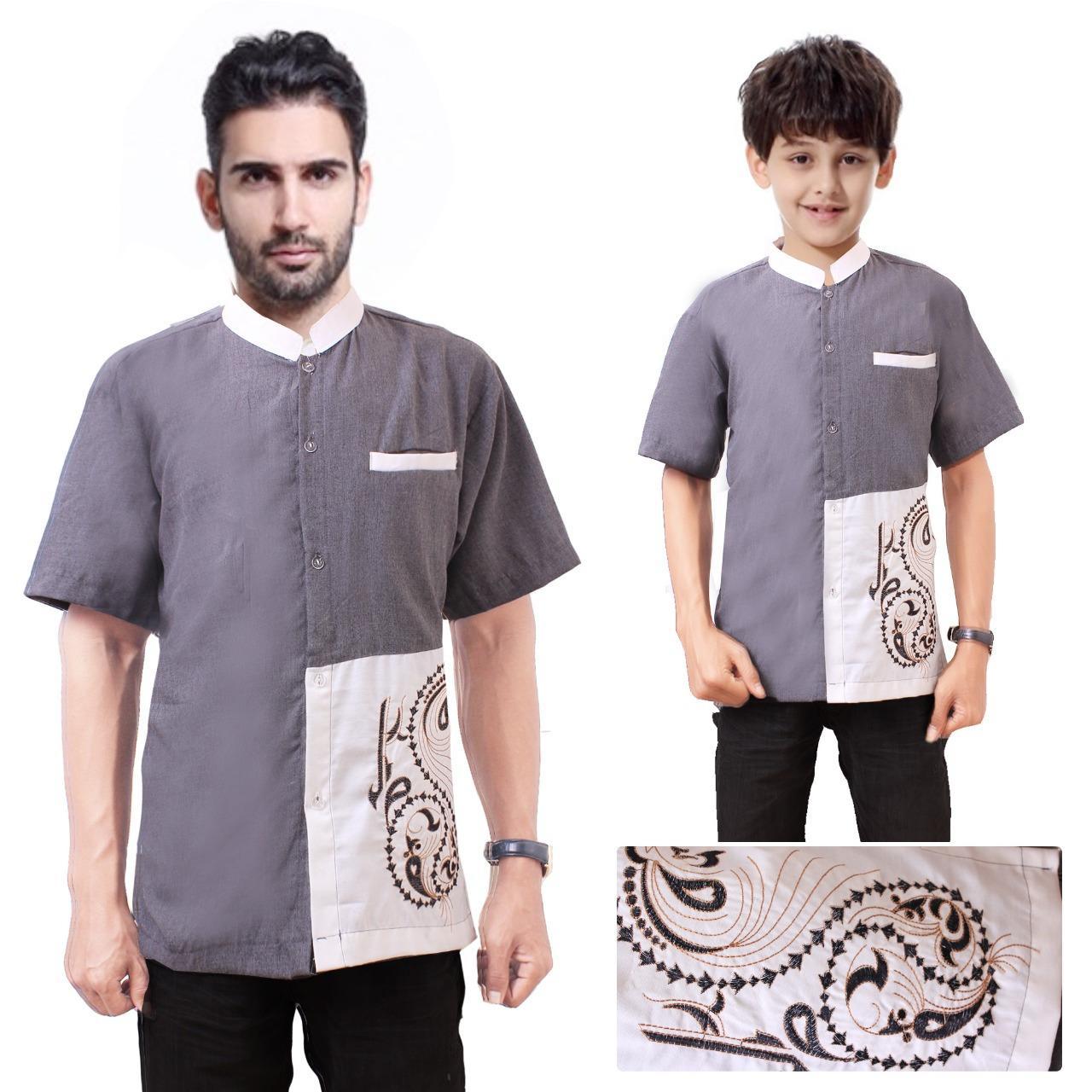 168 Collection Baju Koko Remigius Kemeja Muslim Lengan Pendek ayah dan anak