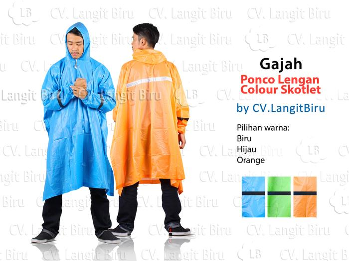 Promo Jas Hujan Poncho Lengan Colour Skotlet Gajah Dewasa Motor Karet batman original