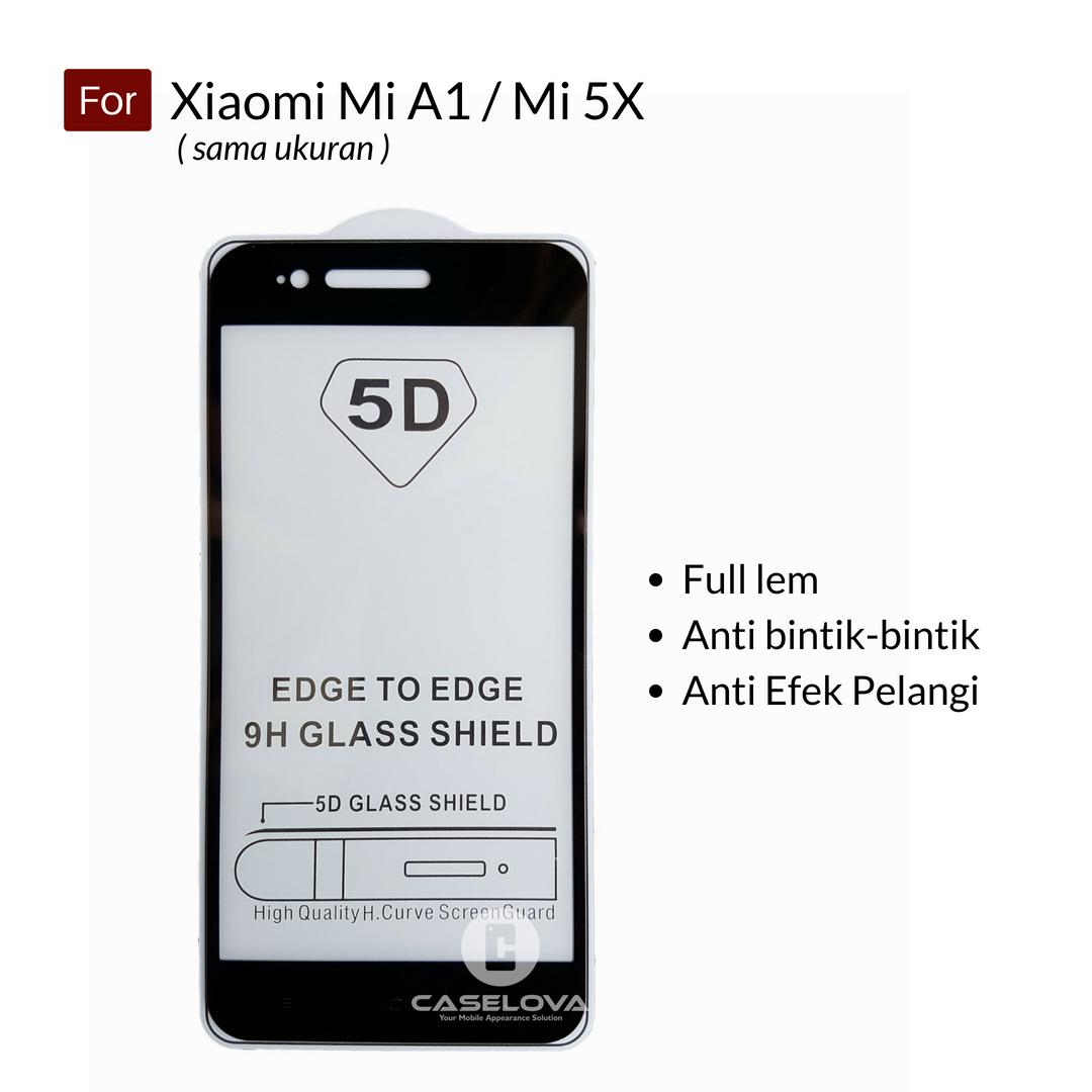 Caselova Premium Full Cover Tempered Glass 5D Round Curved Edge For Xiaomi Mi A1 / Mi 5X ( sama ukuran ) - Black