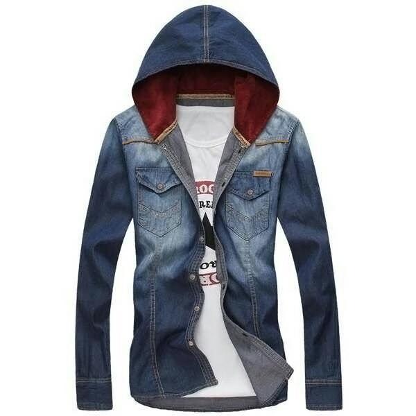 Popuri Fashion Kemeja Jaket Hodie Jeans Pria Demetrius Lengan Panjang Jeans Wash Baju Cowok Kem Cas