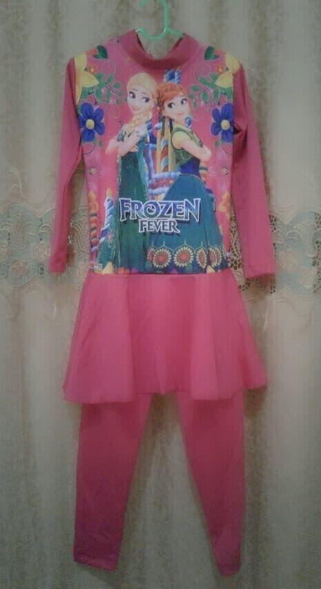 HARGA SPESIAL!!! baju renang muslim anak TK-SD perempuan frozen warna tosca - 4-5 tahun, Fuchsia - TSPtVH