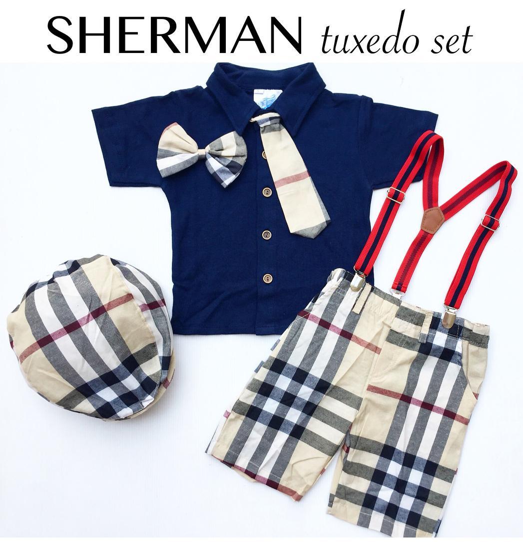 Setelan Kemeja Anak Cowok Sherman Burbery plus Suspender dan topi - Baju Anak Laki-Laki
