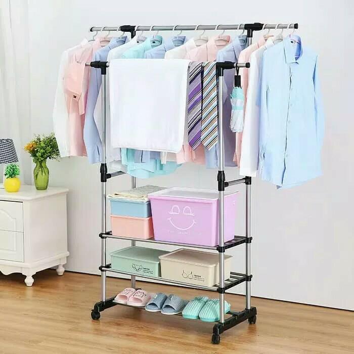 Stand Hanger Double 2 Sisi Rak Lemari Gantungan Baju Jemuran Indoor ||| tali jemuran gantung baju handuk baju stainless dinding pakaian lipat bayi jemuran aluminium jemuran pakaian