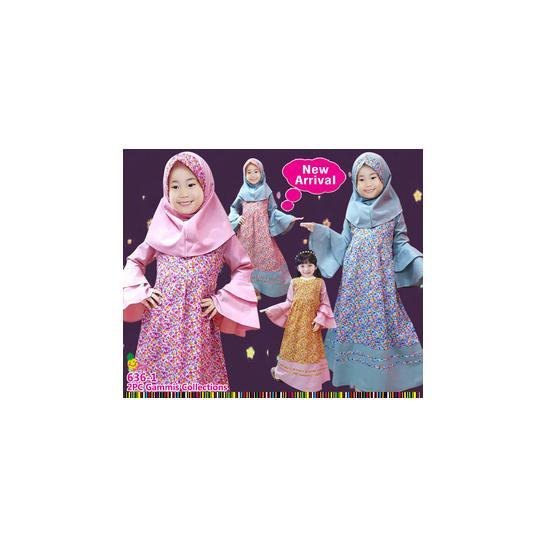 MA311 pakaian baju dress gamis muslim anak perempuan little pineapple