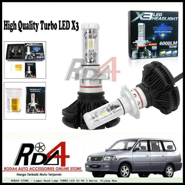 Lampu Head Lamp TURBO LED X3 H4 3 Warna Kijang New