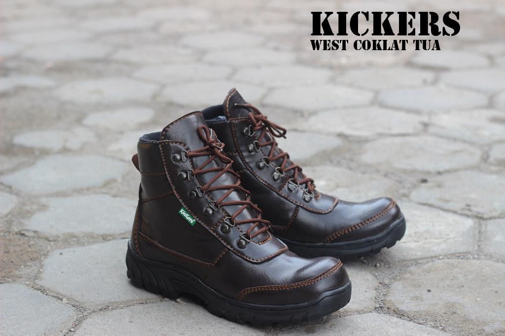 Kekinian Sepatu Kickers Boots Safety West Coklat Tua Paling Laku