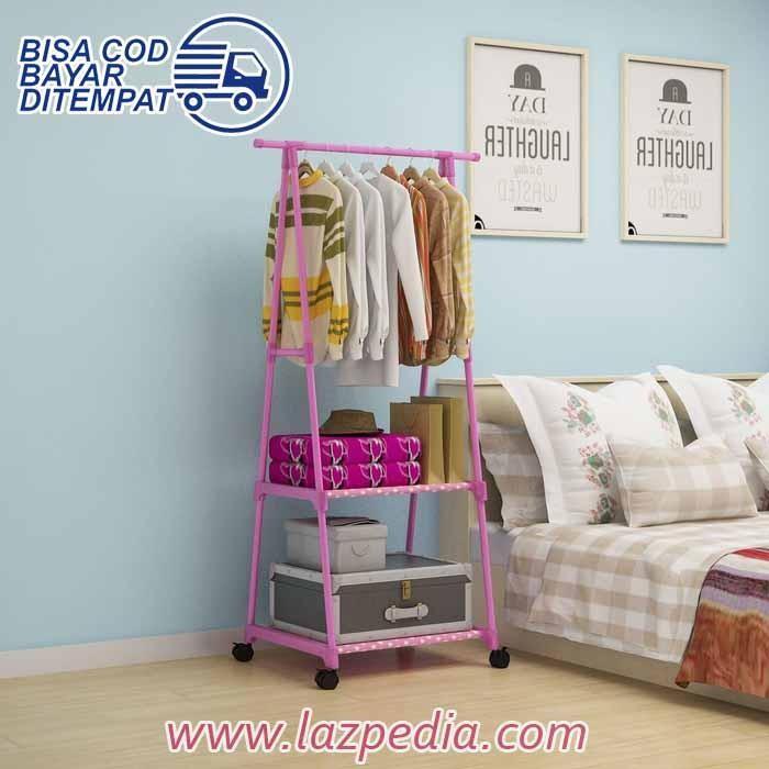 Laz COD - RMH X17 Triangle Stand Hanger Rak Buku Pakaian Serbaguna Dengan 4 roda / Warna Random - Lazpedia