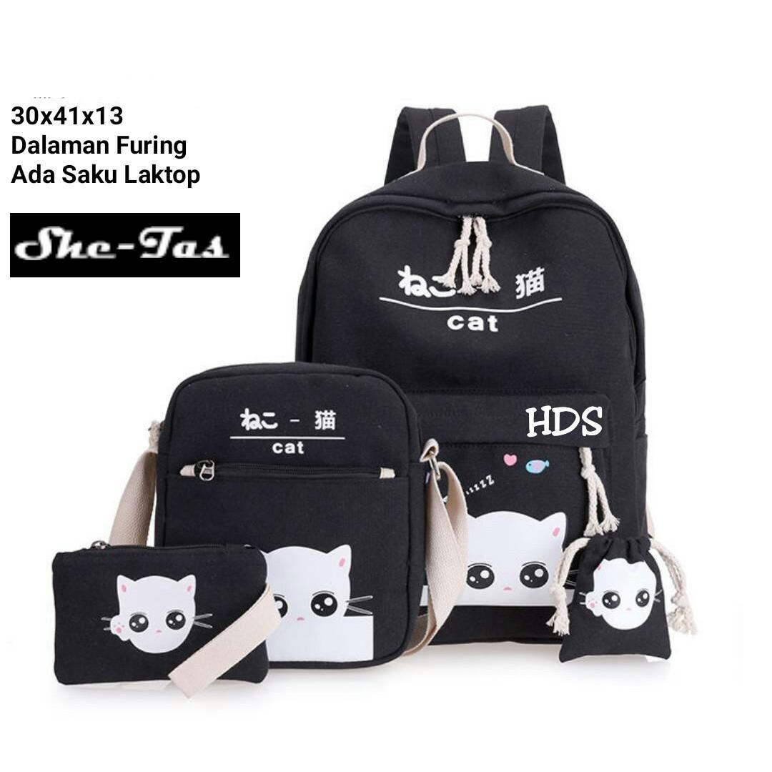 new Tas Ransel anak Sekolah Anak 4 IN 1 Cat Love kucing panda hello kitty  Promo 1f9ba79717