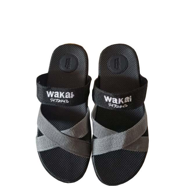 Sandal Wakai Pria Wanita - Sandal Fashion Sandal Murah hitam silang