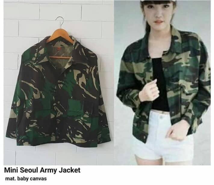 RIA_STORE POCKET MINI SOUL ARMY LORENG JAKET ARMY // FASHION JAKET BABYCANVAS WANITA //