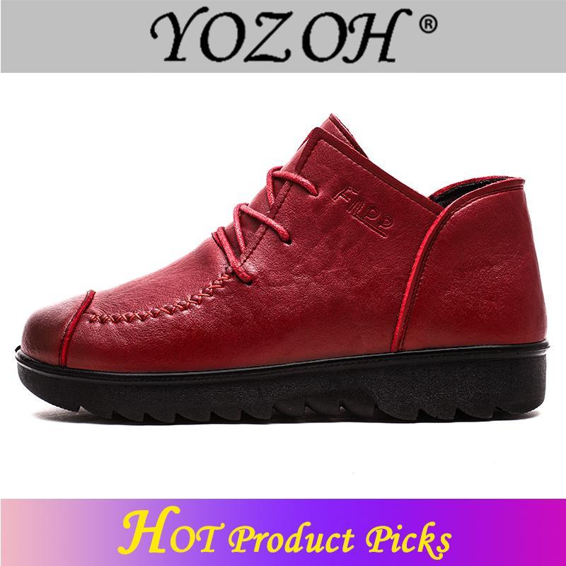 YOZOH Sepatu Bot Wanita Buatan Tangan Wanita Asli Boots Musim Semi Musim Gugur Sepatu-Intl