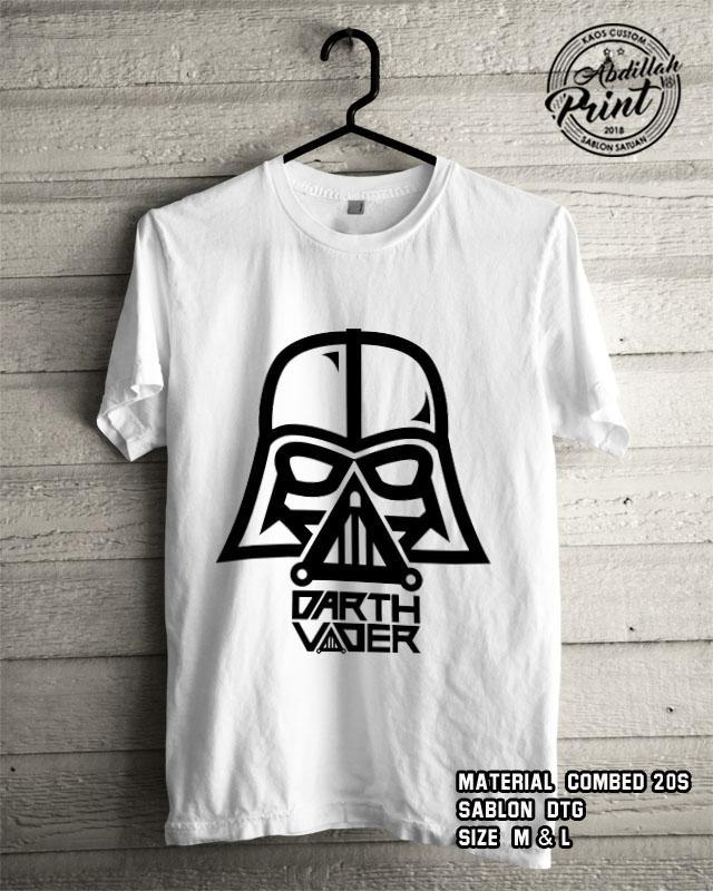 Kaos Distro Custom Design T Shirt Casual Atasan Pria Wanita Cotton Combed 20s Sablon DTG Quality Export - Superhero Starwars - Darth Vader - White