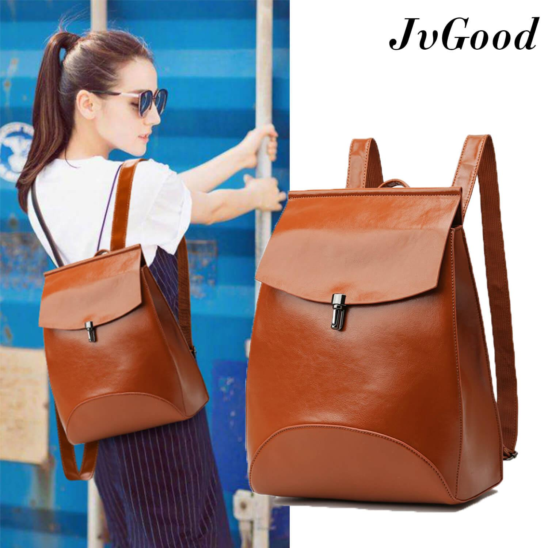 JvGood PU Kulit Wanita Ladies Leather Backpack Dompet Harian Tas Perjalanan Sekolah Kasual Kecil