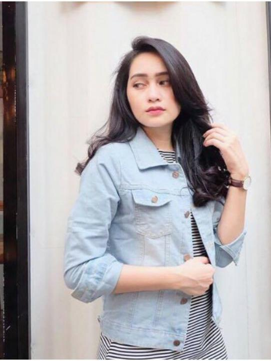[BEST SELLER] Baju Wanita Shop Jaket Denim Exclusive / Jacket Jeans Wanita Premium / Bomber Parka (VIsky) NR - BIRU MUDA (Light Blue)