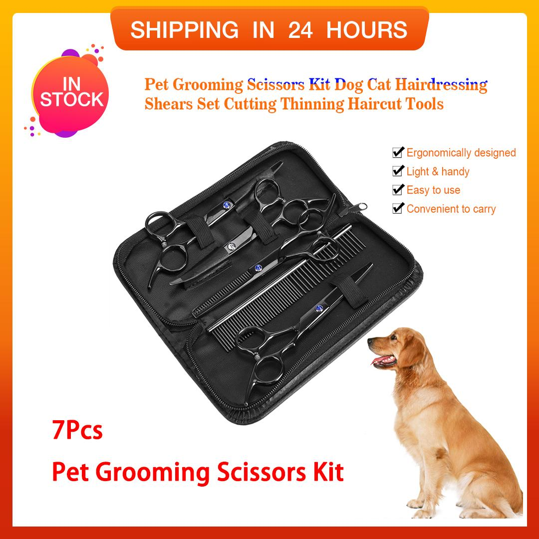 Tmishion 7 Pcs Pet Grooming Kit Dog Cat Rias Gunting Rambut Cutting Thinning Haircut Tools By Rubikcube.