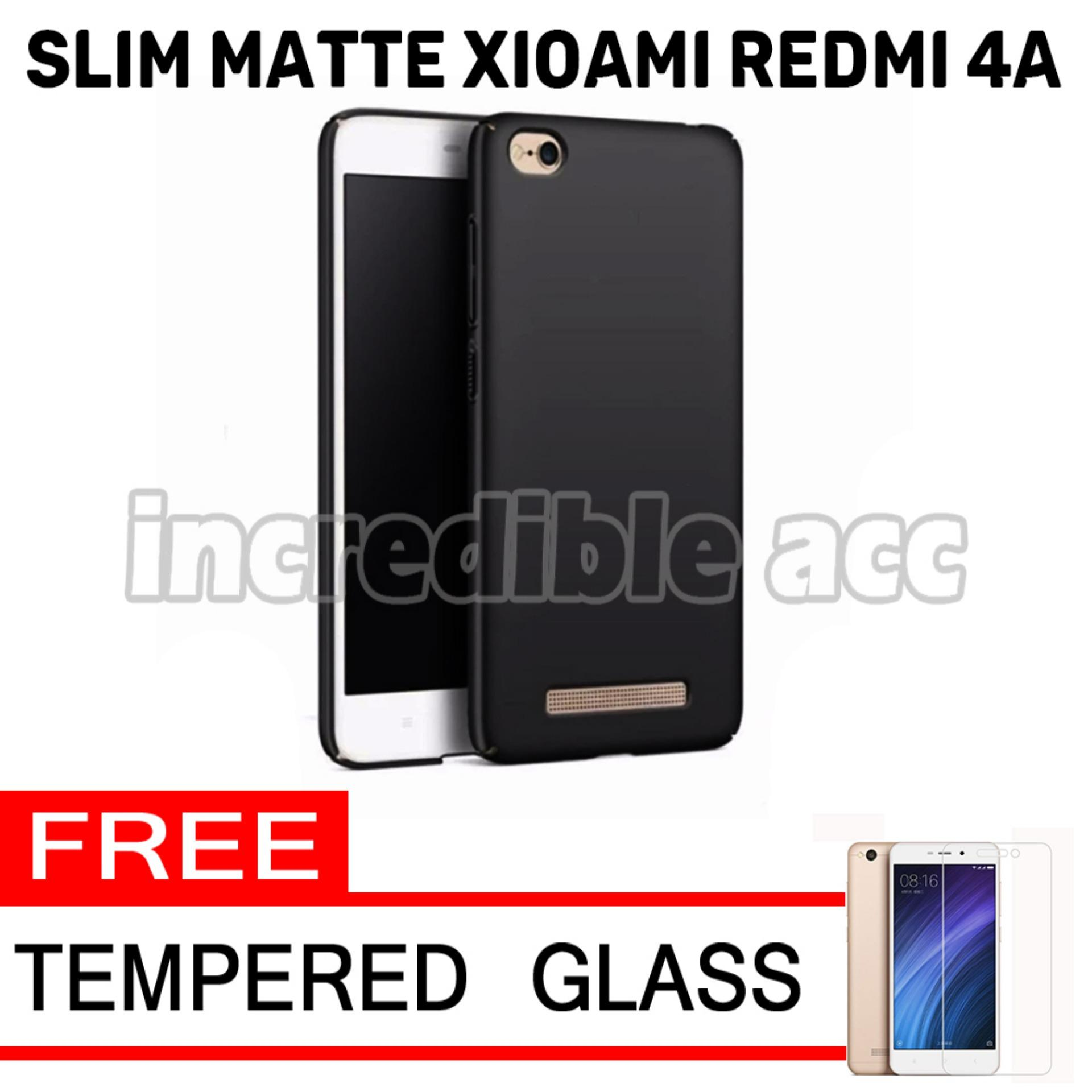 Anti Fingerprint Ultraslim Hybrid Case Baby Soft Babby Skin Softase Silicon Matte  for Xiaomi Redmi 4A - Black + Free Tempered Glass