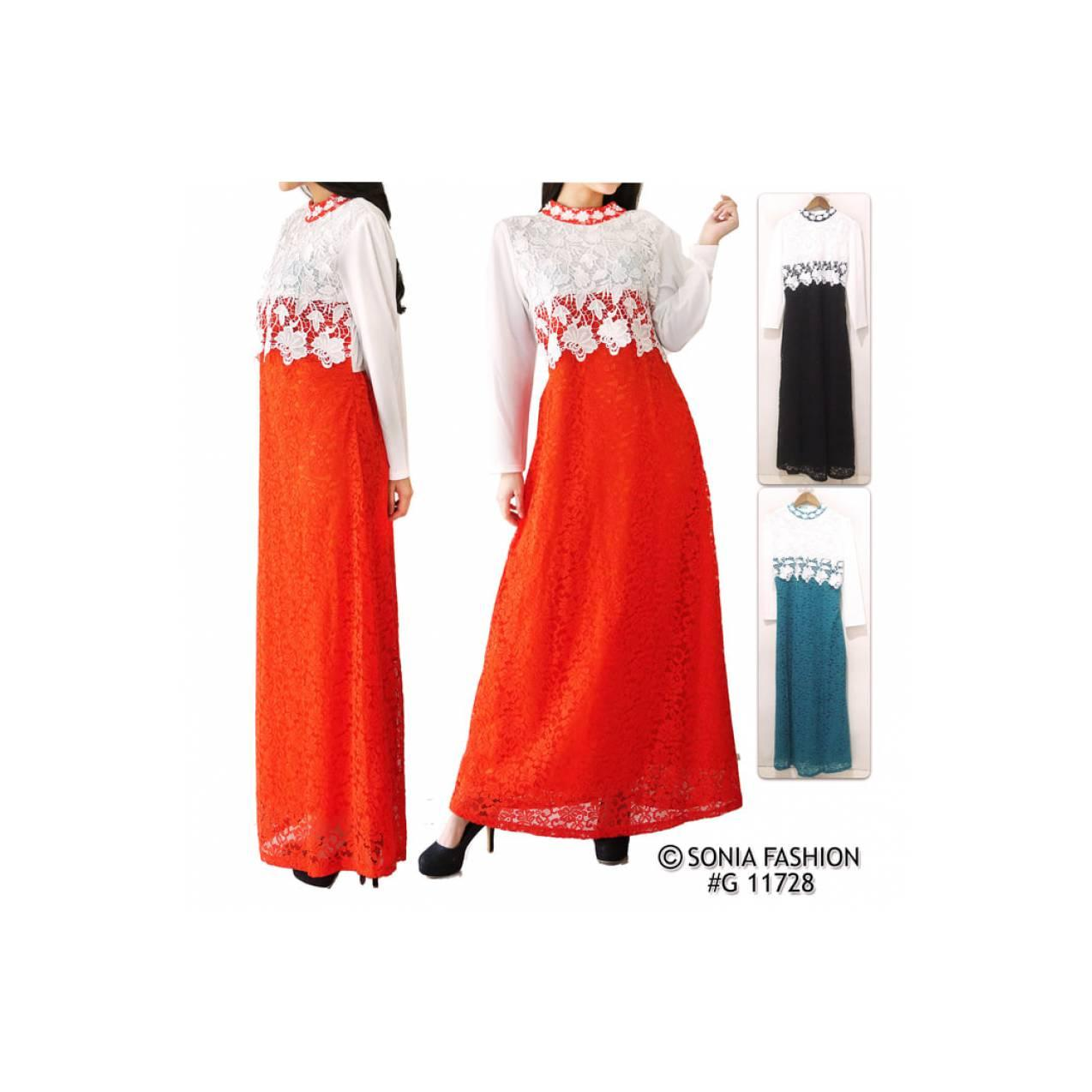 Gamis Maxi Full Brukat Zaskia / Maxi Dress / Lace Dresses / 11728