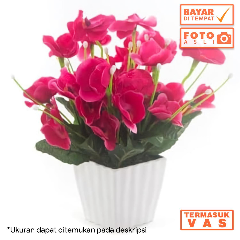 Dekorasi Rumah Buket Bunga Anggrek Artificial Vas Melamin Petak Murah